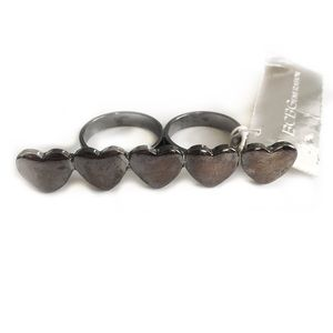 BCBGENERATION DOUBLE RING HEARTS GUNMETAL TONED